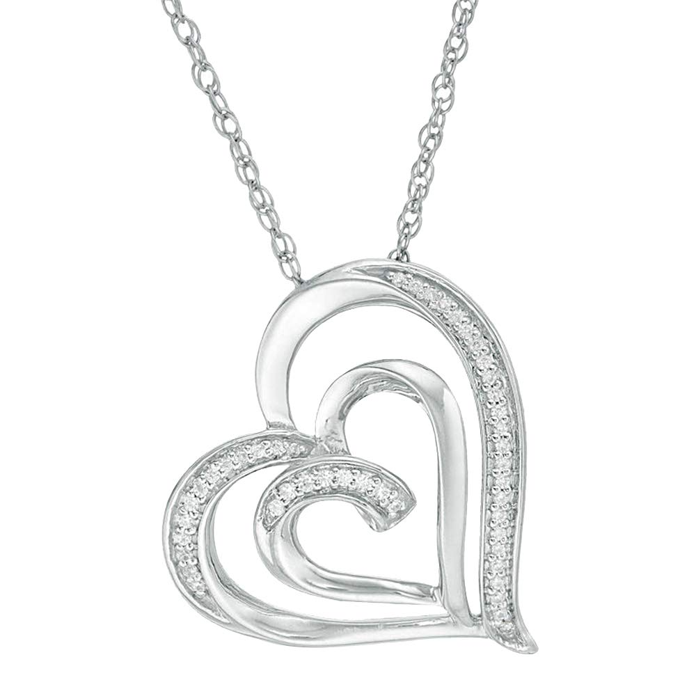 Swirl Double Heart Pendant Nackalces 0.15 Ct Round Cut Simulated Diamond Solid 14K Whtie Gold