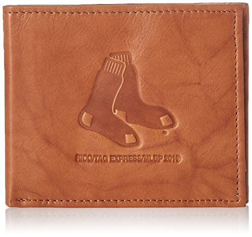 MLB Boston Red Sox Embossed Genuine Cowhide Leather Passcase Boston Red Sox Wallet