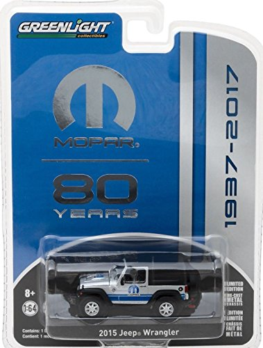 New 1:64 GREENLIGHT ANNIVERSARY SERIES 5 COLLECTION - Silver 2015 Jeep Wrangler MOPAR 80th Anniversary Diecast Model Car By Greenlight