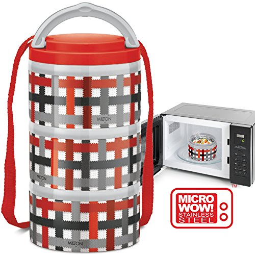 MILTON Insulated Lunch Box/Bento Box - NEW 1'st Microwave Safe Stainless Steel thermos for Kids/Adults 12 oz. Food Jar With Shoulder Strap for Men - 3 Compartment Meal Prep Lunch Containers