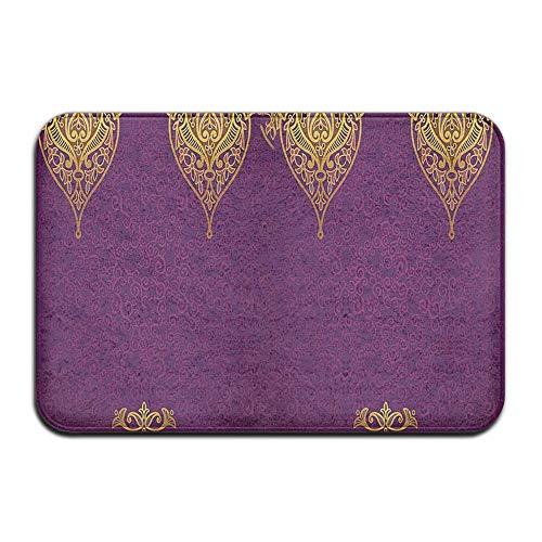 Feim-AO Dark Purple Ethnic Motif Anti-Slip Machine-Washable Door Mat Home Decor Rug Floor Mat 30(L) X 18(W) Inch