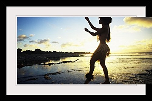 GreatBIGCanvas ''Hawaii, Female Hula Dancer on Beach, silhouetted by Sunset'' by Vince Cavataio Photographic Print with Black Frame, 36'' x 24'' by greatBIGcanvas