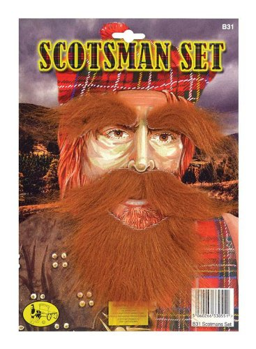 Adult Scotsman Costumes (Ginger Scotsman Facial Hair Set (Stick on Red Beard, Tash & Eyebrows))