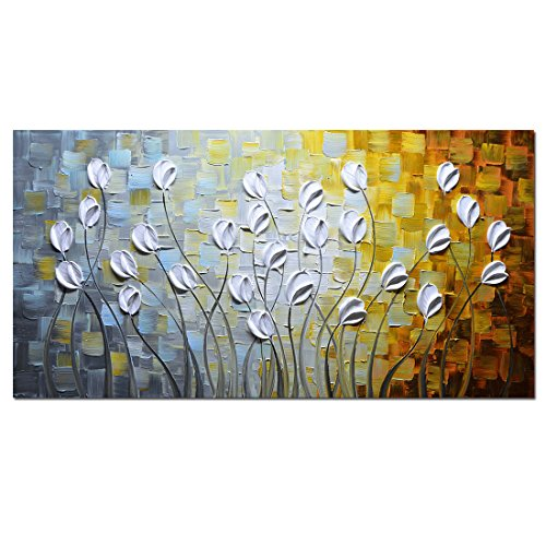 Asdam Art - Oil Paintings on Canvas Budding Flowers 100% Hand-Painted On Canvas Abstract Artwork Floral Wall Art Decorative Pictures Home Decor White (24X48 inch)