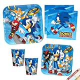 Sega Sonic The Hedgehog Party Plates Napkins and Cups   Sega Sonic The Hedgehog Video Game Party Supplies Bundle for Birthday or Any Party   Licensed   Serves 8