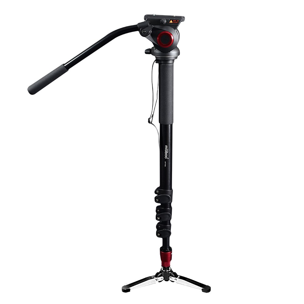 miliboo MTT705A Aluminum Portable Fluid Head Camera Monopod for Camcorder/DSLR Stand Professional Video Tripod 72''Max Height with 10 Kilograms Max Load Capacity Compact with Manfrotto Monopod