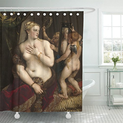 VaryHome Shower Curtain Venus with Mirror By Titian C 1555 Italian Renaissance Painting Oil on Canvas the of Classical Goddess Waterproof Polyester Fabric 72 x 72 inches Set with Hooks (Renaissance Two Mirror Light)