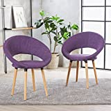 Christopher Knight Home 301203 Kagan Fabric Modern Dining Chair (Set of 2) (Muted Purple),