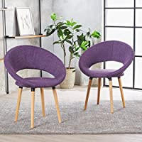 Kagan Fabric Modern Dining Chair (Set of 2) (Muted Purple)