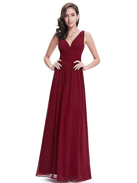 Ever-Pretty Alínea Largo Vestido de Fiesta Corte Imperio Cuello en V sin Mangas para Mujer 09016