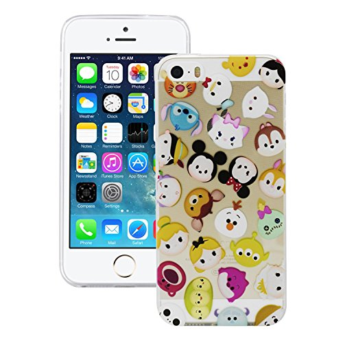 iProtect TPU Schutzhülle Apple iPhone 5 5s Soft Case Silikon - Gel Hülle Cartoon Funny Friends