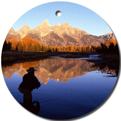 Fly Fishing Scenic Mountain Ornament round porcelain Christmas Great Gift Idea