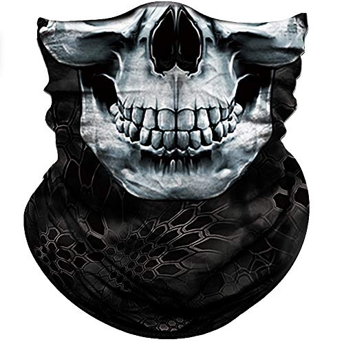 Obacle Skull Face Mask Half Sun Dust Wind Protection, 3D Tube Mask Seamless Durable Face Mask Bandana Skeleton Face Mask Motorcycle Bike Riding Fishing Hunting Cycling Festival Gifts, Many Patterns