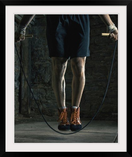 GreatBIGCanvas ''Boxer training and jumping rope'' Photographic Print with Black Frame, 29'' x 36''