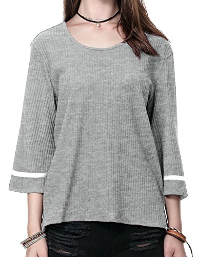 Regna X Boho for Women Boat Neck Flare Daily Light Grey Large 3 4 Bell Sleeve Striped Ribbed Sweater Knit Tops (Sleeve Ribbed Sweater)