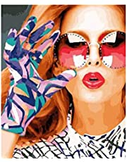 MRQXDP Blonde Girl Wearing Patterned Gloves Oil Painting By Number Canvas Dog Diy Handpainted Gift Art Kits Coloring Decor For Home Paint