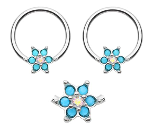 d0ad4467eb9 Amazon.com: playful piercings Pair of Turquoise Flower Captive Bead ...