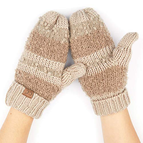 Gloves Striped Nylon (CC Exclusives Women Thick Knit Faux Fur Sherpa Fleece Lined Warm Winter Gloves Mittens (Striped-Taupe))