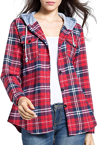BomDeals Women's Classic Plaid Cotton Hoodie Button-up Check Shirts (S,Red)