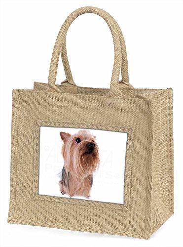 Advanta Yorkshire Terrier große Einkaufstasche/Weihnachten Geschenk, Jute, beige/natur, 42x 34,5x 2cm