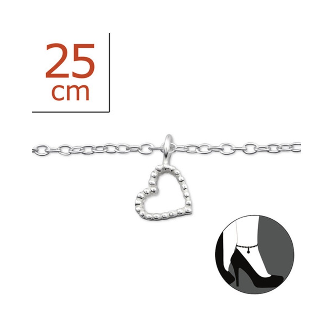 Worldjewelry Heart Silver Anklets 925 Sterling Silver for Women and Girls