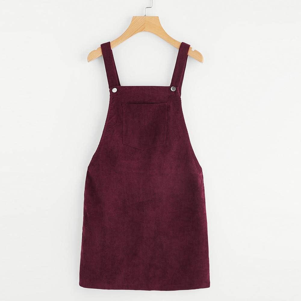 Kanpola Kleider Damen Herbst Cord Straps Kurze Tasche gerade Weste Rock Kleid
