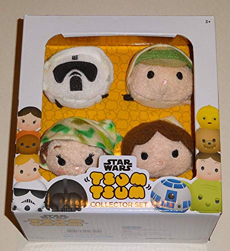 Tsum Tsum Disney Star Wars Plush Collector Set # 3 (4 Pack) Endor/Return of The Jedi ROTJ with Luke Skywalker, Han Solo, Princess Leia & Scout Trooper / Imperial Biker Scout -