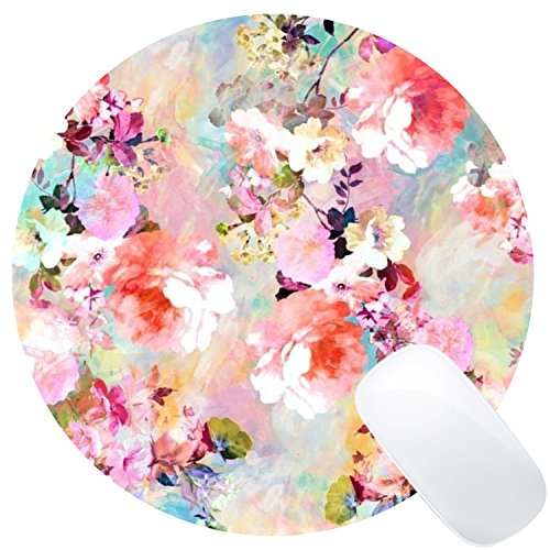 Wknoon Round Gaming Mouse Pad Custom Design, Romantic Pink Flowers Vintage Watercolor Floral Pattern, 8