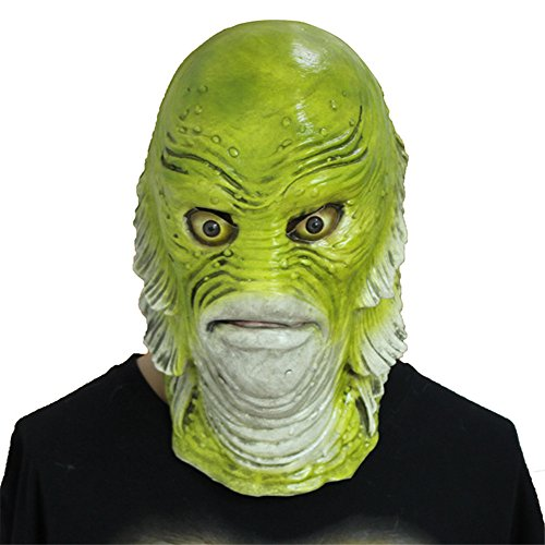 Molagogo Scary Monster Fish Mask, Creature from The Black Lagoon Latex Mask Adult Halloween Party Cosplay Costume ()