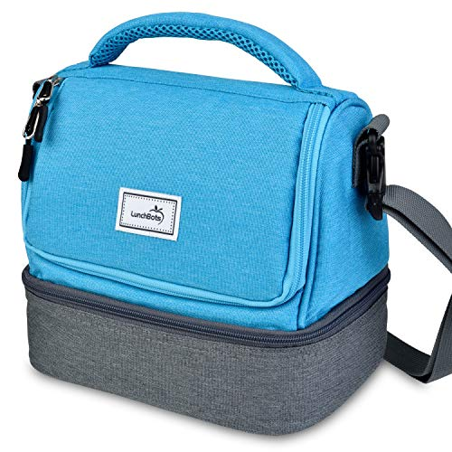 LunchBots Duplex Insulated Lunch Bag - Dual Section Design Fits LunchBots Uno, Duo, Trio, Quad, Rounds, Bento Cinco Perfectly - Roomy Thermal Lunch Bag for Kids and Adults - Aqua]()