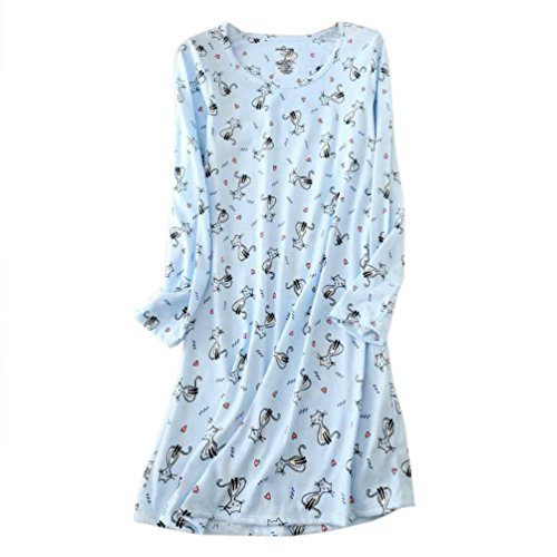 Tee Sleeve Sleep Long (ENJOYNIGHT Women's Cotton Sleepwear Long Sleeves Nightgown Print Tee Sleep Dress (X-Large, Kitty))