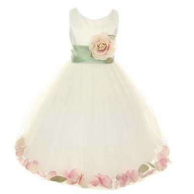 d2880e08c6d Cinderella Couture Little Girls Ivory Peach Petal Adorned Satin Tulle  Flower Girl Dress 2T