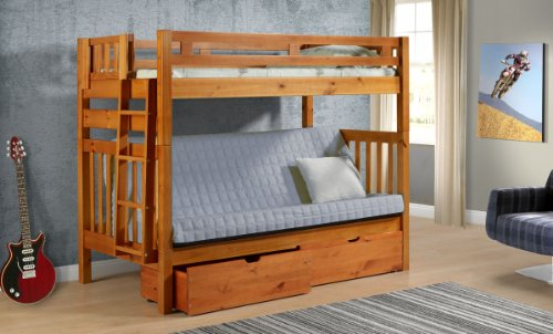 Tall Twin over Full Futon Mission Honey Bunk Bed with ()
