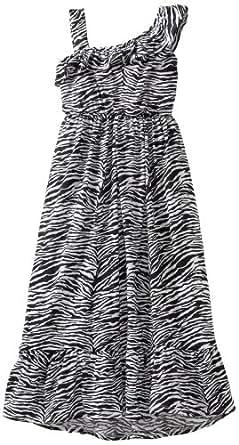 One Step Up Big Girls' One Shoulder Ruffle Dress, Black Zebra, Large (14/16)