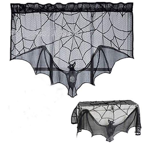YDBAG Halloween Black Lace Spider Web Tablecloth Fireplace Mantle for Festive Party Decoration Dinner Parties and Scary Movie Nights Party Supplies