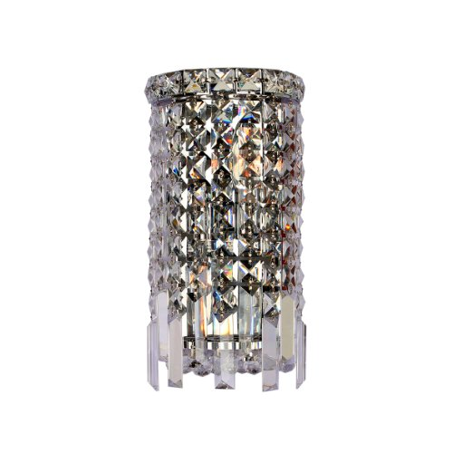 ascade Collection 2 Light Chrome Finish Crystal Rounded Wall Sconce 6