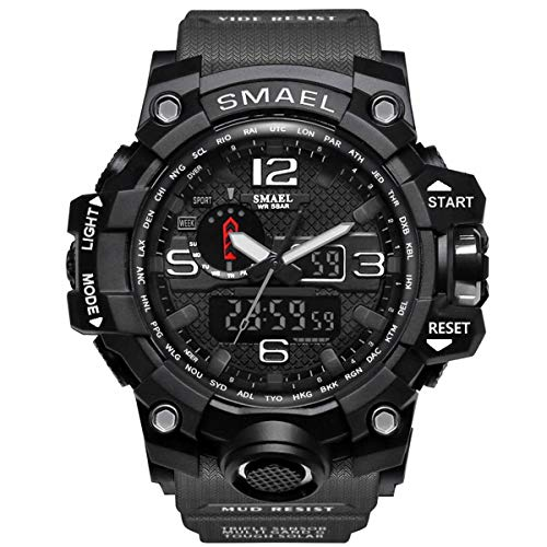 Army Wrist Watch - SMAEL Mens Digital Sports Watch Large Face Military Watches Electronic Waterproof Casual LED Stopwatch Alarm Digital Analog Dual Time Outdoor Army Wristwatch