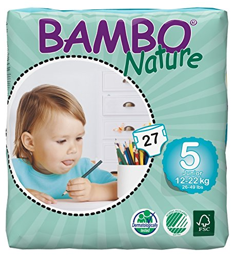 Bambo Nature Baby Diapers Classic, Size 5 (26-49 lbs), 27 Count