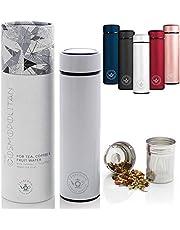 Teabloom Becher für alle Getränke - 480 ml/Isolierflasche aus gebürstetem Metall - Teeflasche - Reiseflasche - Für kaltes Gebräu - 2-Wege-Zubereiter - In 5 Farben erhältlich