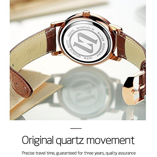 Rose Gold Watches for Men,Brown Leather Watch Men Business Casual Wrist Watch,Fashion Japan Quartz Movement Watch with White Face,Men's 30m Waterproof Wrist Watches,Round White Dial by OLEVS (Image #7)