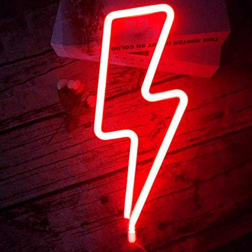 LED Lightning Shape Neon Sign Light Art Decorative Lights Wall Decor for Baby Room Christmas Wedding Party Supplies (red Light)