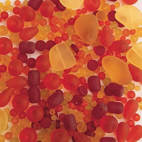Sea Glass Bead Assortment, Burning Sun - Pack of 500 Beads