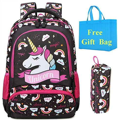 Cute Canvas School Backpack with Pencil Case, Waterproof Casual Bookbag Travel Daypack,15.6 Inch Laptop and Notebook Backpack for Ladies Girls Teen Camping Unicorn Pattern