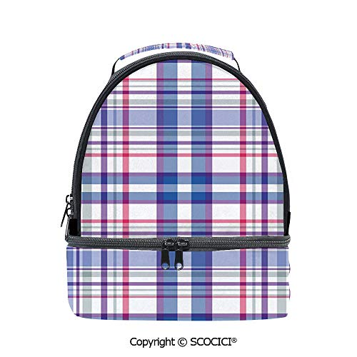 SCOCICI Large Capacity Durable Material Lunch Box Country Inspired Old Fashioned Pattern Picnic Theme Light Colors Multipurpose Adjustable Lunch Bag