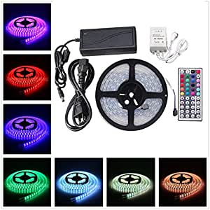 XKTTSUEERCRR 5050 SMD 16.4Ft 5 Meter Double Row 600LEDs RGB Waterproof Flexible LED Strip Lights 120LEDs/M 600LEDs/Roll String Lights + 44Key Remote Controller + 12V 10A Power Supply