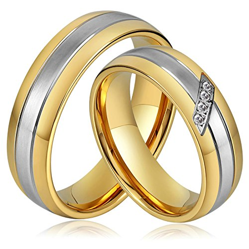 AnaZoz Stainless Steel 6MM Gold Plated Engagement Ring Zirconia Gold