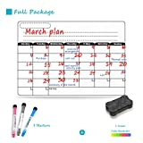 Sooard Dry Erase Magnetic Refrigerator Calendar 16.5'' x 11.8'', White Board Planner for Fridge, Weekly/Monthly Planner, Fridge Whiteboard with Eraser & Markers (501)