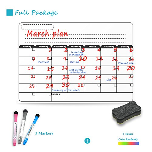 Sooard Dry Erase Magnetic Refrigerator Calendar 16.5'' x 11.8'', White Board Planner for Fridge, Weekly/Monthly Planner, Fridge Whiteboard with Eraser & Markers (501) by Sooard