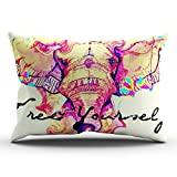 KEIBIKE Personalized Colorful Ink Pink Thai Elephant Rectangle Decorative Pillowcases Retro Zippered King Pillow Covers Cases 20x36 Inches One Sided