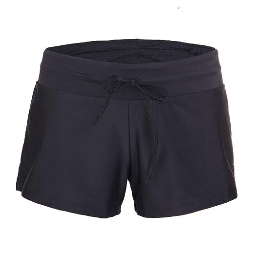 4fd1cc56de Womens Side Split Waistband Swim Beach Board Shorts Swimsuit Bottom with Panty  Liner Black
